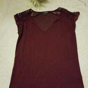 Express burgundy silk shirt